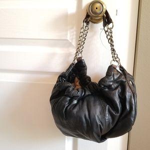 BCBGMaxazria Black Slouch Leather Chain Hobo Bag